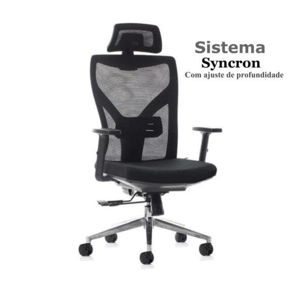 Cadeira Escritório Presidente Tela com Base Alumínio - MK-89PP - Makkon - 32880